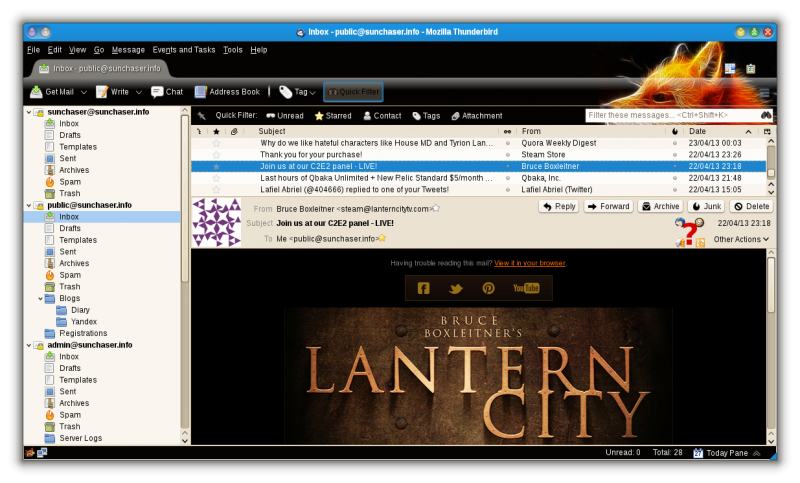 lantern city mail in thunderbird